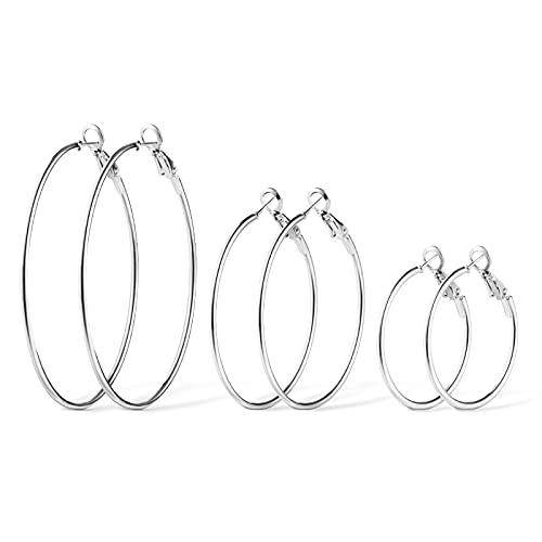 Aucuu Pendientes de Aros Grande Circulos, 3 Pares de Plata de Ley 925 para Mujer, Grandes Diseño Elegante de 3 Tamaños ,Diámetro 31-52 mm (S M L)-Plata