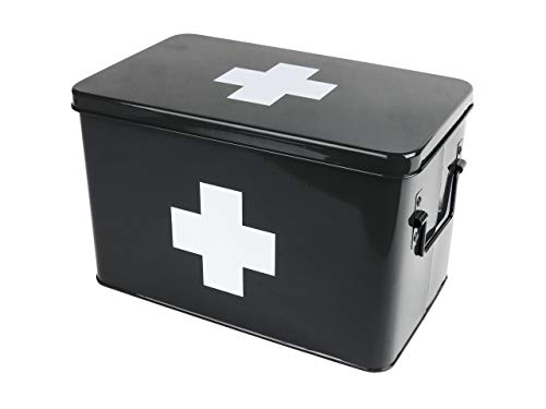 Present Time - Erste Hilfe Box, Medikamente Box - Metall - Schwarz - Groß - 31,5 x 19 x 21cm