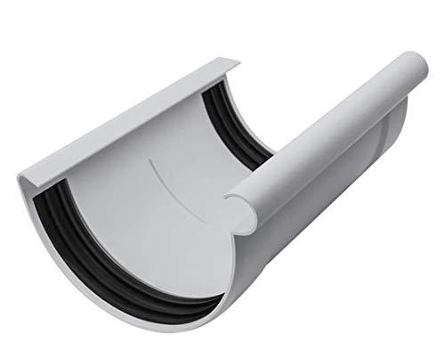 INEFA Rinnen-Verbindungsstück halbrund Grau NW 100 - Kunststoff, Verbinder für Regenrinne, Rinne, Dachrinnen, Dachrinnenverbinder, Rinnen Zubehör, Rinnenverbinder
