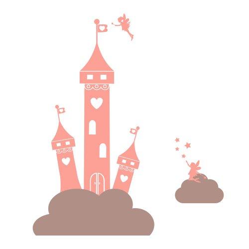Fata castello principessa nel sticker nubi parete Stickerscape (Confezione XL)