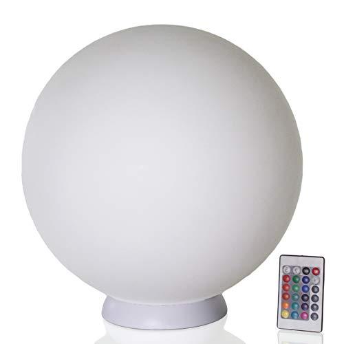 Arnusa Kabellose LED Kugellampe mit Akku Moderne Lampe 40cm Kugel-Dekoleuchte mit Farbwechsel und Fernbedienung Schwimmleuchte Gartenleuchte