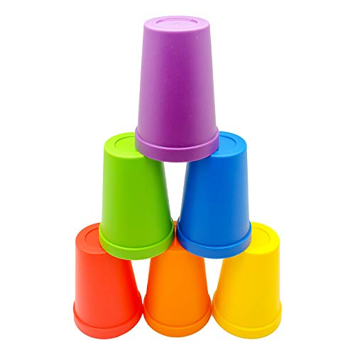 Skoolzy Rainbow Stacking Cups - Color Sorting Toys for Toddlers - Primary Matching, Fine Motor Skills for Montessori Preschoolers, Toddler Activities Primary - 6 pc