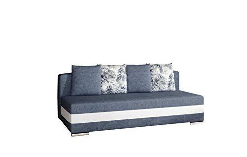 Sofa mit Schlaffunktion und Bettkasten, Couch für Wohnzimmer, Schlafsofa Federkern Sofagarnitur Polstersofa Wohnlandschaft mit Bettfunktion - Walia (Dunkelblau+Weiß (Sawana 80+soft 17 +Botanical80))
