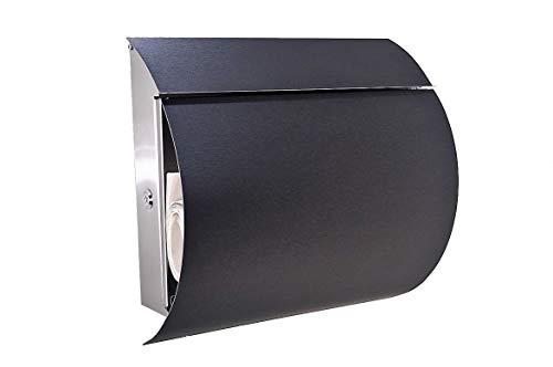Briefkasten Edelstahl diamant-anthrazit 888 mit integriertem Zeitungsfach Postkasten Mailbox