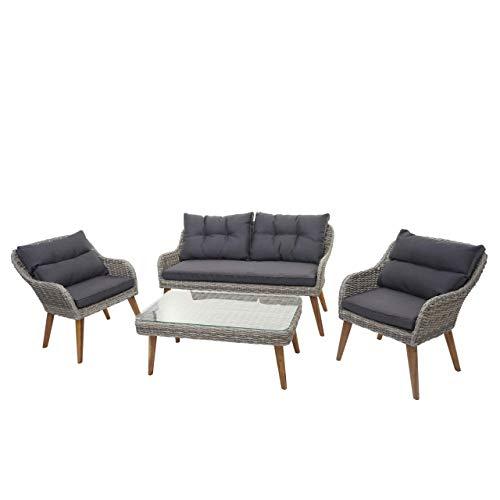 Mendler Gartengarnitur HWC-H64, Lounge-Set Sofa Sitzgruppe, Stahl + Akazie halbrundes Poly-Rattan Spun Poly