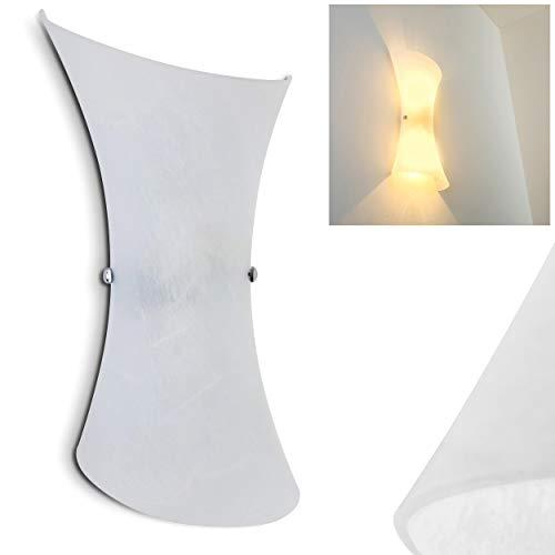 Wandlampe Rivoli aus Metall/Glas in Weiß, moderne Wandleuchte mit Up & Down-Effekt, 2 x E14 max. 40 Watt, Innenwandleuchte mit Lichteffekt, geeignet für LED Leuchtmittel