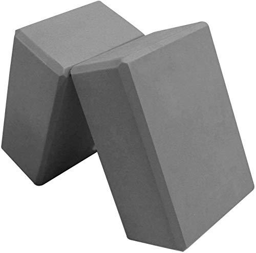 Yoga Blocks Set of 2- Exercise, Fitness, Stretching, Yoga Bricks- EVA Foam- Provides Stability and Balance (Gray) by ZSZBACE