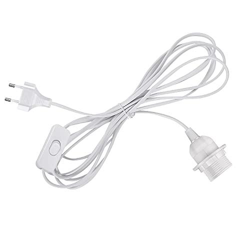 Uplight Portalámpara E27 con Interruptor,Longitud del Cable 4M, Cambiar a enchufe es de 550 MM,E27 Casquillo con Cable y EU Enchufe,Base de Lámpara con Adaptador para Bombilla,Blanco,1 Paquete.