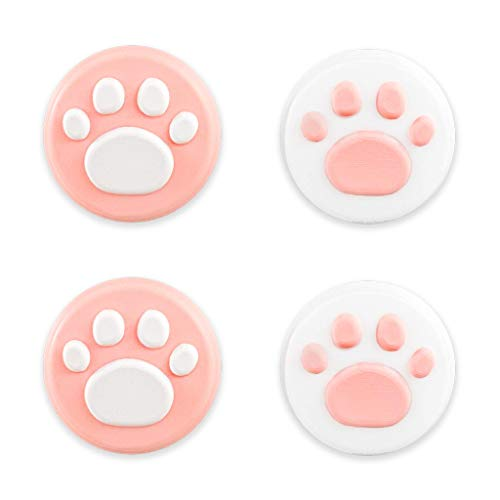 BelugaDesigns Pink White Paw Thumb Grip Caps - Nintendo Switch & Lite - Joystick Cap, Soft Silicone Cover for Joy-Con Controllers - Pack of 4