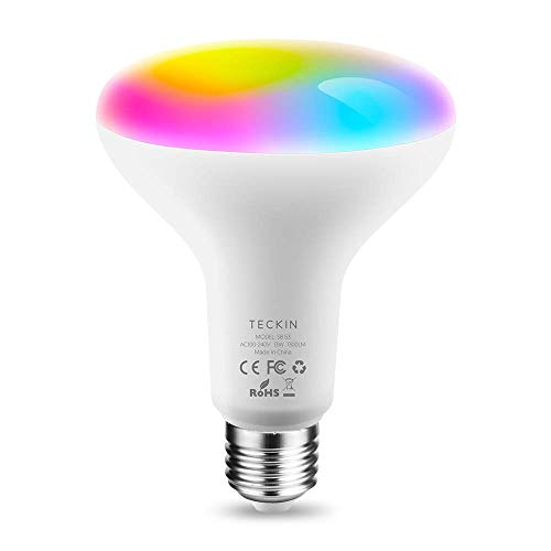 Lampadina Alexa Led E27 WiFi Lampadina Colorate Smart,13W 1300LM RGBCW Multicolor Dimmerabile Equivalente 100W,TECKIN Compatibile con Alexa,Google Assistant,Telefono,BR30 Domotica con timing