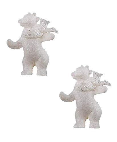 Toyland Décorations à Suspendre pour Arbre de Noël 2 Ours Polaires - Taille 9cm