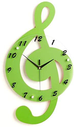 Reloj de pared de madera con mecanismo de cuarzo y esfera grande, funciona con pilas, fácil de leer, decoración del hogar, amarillo, 44 x 24 cm, verde, 44 x 24 cm