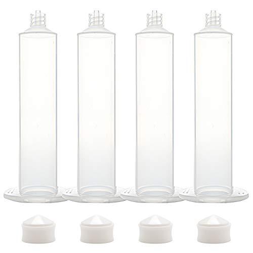 20 PCS American style transparent Liquid Dispenser 55CC Dispensing Machine Syringe Adhesive Syringe Barrel Sleeve, Piston, Tip Caps (55cc US style Adhesive Dispenser)