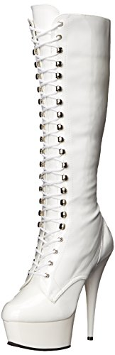 Pleaser DELIGHT-2023 WHT STR Pat/WHT UK 10 (EU 43)