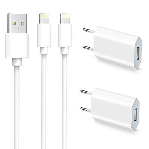 Everdigi 2 Chargeurs et 2 Câbles Phone 1M, Chargeur Secteur Blanc 5W et Câbles Charger USB 1M