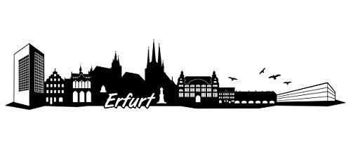 Samunshi® Erfurt Skyline Wandtattoo Sticker Aufkleber Wandaufkleber City Gedruckt Erfurt 120x25cm schwarz