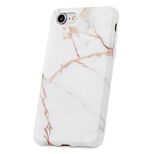 QULT Etui de téléphone - Coque iPhone 6 / 6S - Protection en Silicone avec Pare-Chocs de Protection TPU - Motif marbré élégant - Bords de caméra surélevés Marbre Blanc