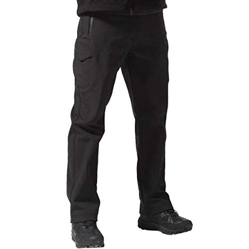 FREE SOLDIER Men's Outdoor Softshell Fleece Lined Cargo Pants Snow Ski Hiking Pants with Belt (Black 34W/30L)