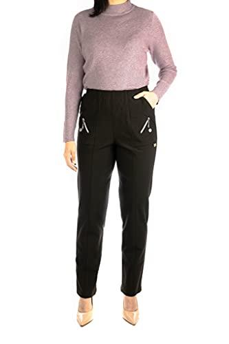 Alica Elegante pantalón elástico para mujer con cómoda cintura elástica y corte recto, adecuado para personas mayores.
