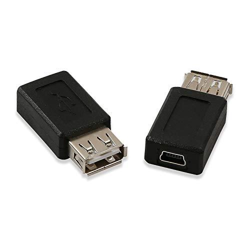 Electop 2 Pack USB 2.0 A Female to USB B Mini 5 Pin Female Adapter Converter