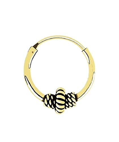 Gold Plated Sterling Silver Bali Style Hoop 12 MM For Men & Women