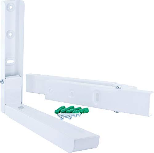 SCHWAIGER -TVH6052 012- Mikrowellenhalter   klappbare und verstellbare Gerätehalterung   Wandhalter für Mikrowelle und Kleingeräte   Regal   max. Belastbarkeit von 15 kg   weiß