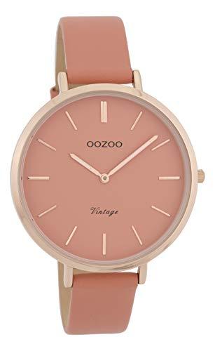 Oozoo Vintage Damenuhr Lederband 40 MM Rose/Pinkgrau/Pinkgrau C9806
