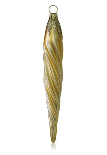 Lauschaer Glas Eiszapfen Gold matt 3 Stück Christbaumschmuck Weihnachtsbaumschmuck mundgeblasen,handdekoriert Original