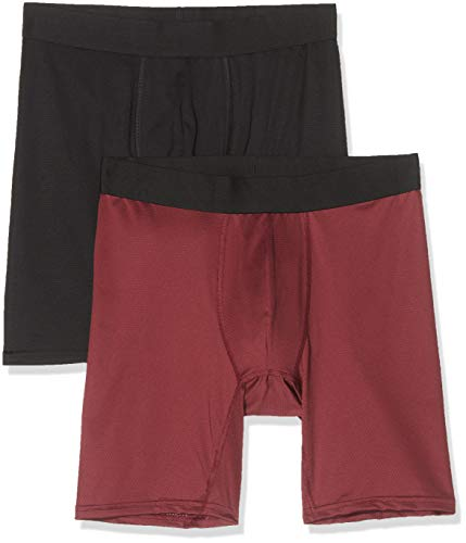 Marca Amazon - find. Bóxer Largos de Deporte para Hombre, Pack de 2, Multicolor (Black/Red(Merlot)), XL, Label: XL