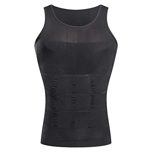 Jolie Herren Schlankheitsweste Body Shaper Bauchkontrolle Haltung richtig Gynäkomastie Kompressionshemd Unterwäsche,Grau,XXL