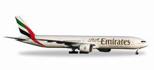 herpa 557467 Emirates Boeing 777-300ER in Miniatur zum Basteln Sammeln und als Geschenk, Mehrfarbig
