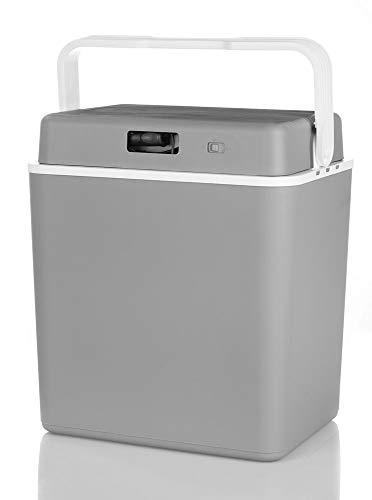 domino Thermo Elektrische Kühlbox 29 L, Inkl. 2 Anschlüsse: 230V / 12V DC, Grau - Weiß, Tragbar