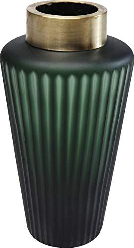 Kare Design Vase Romeo Grün 24cm, Glasvase Dunkelgrün mit Dekoring in der Farbe Gold, Vase mit Farbverlauf im modernen Stil, (H/B/T) 24x12,5x12,5cm