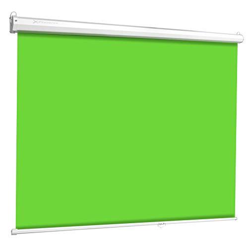 Phoenix Technologies – Pantalla Chroma Verde para Streaming y Fotografia Profesional, Fondo Interactivo, No Reflectante, Antiarrugas, Fijación Techo o Pared, 2 x 2.5 Metros