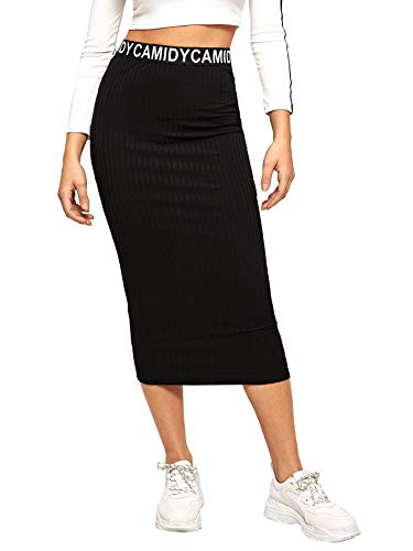 SheIn Women's Striped Elastic Waist Ribbed Knit Bodycon Pencil Skirt Black