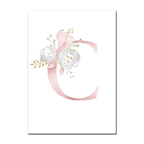 Baby Poster Personalisierte Mädchenname Benutzerdefinierte Poster Kinderzimmer Drucke Rosa Blumen Wandkunst Leinwand Malerei Bilder Für Mädchen Zimmer C 13X18cm Kein Rahmen