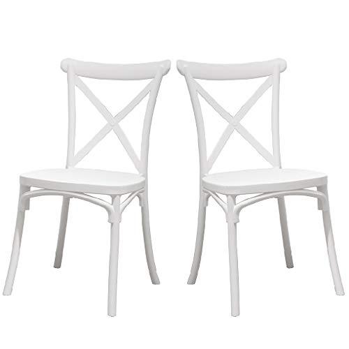 2 weiße Crossback-Stühle für Esszimmer oder Küche, mit 2 Stühlen, elegant, für Küche oder Esszimmer, stapelbar, sehr robust.