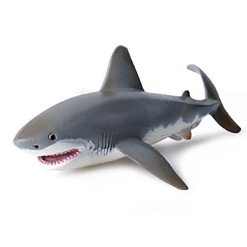 MLUYOCP Lebensechtes Spielzeug in Haifischform, solide statische Modellornamente des Weißen Hais, Kindersimulation Ozean Tier Plastikmodell, Geschenk für Kinder