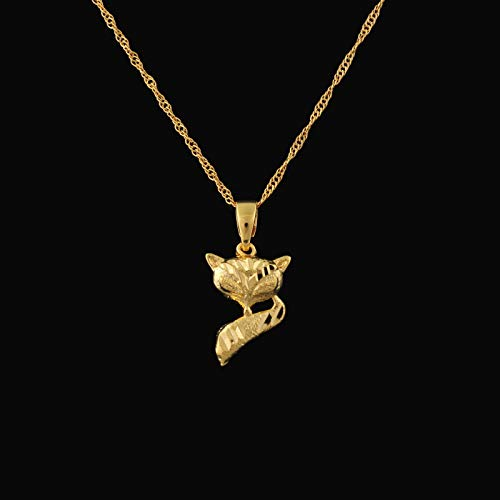 VAWAA Newest Cute Fox Pendant for Girl Women 22k Gold Color Animal Pendnat Necklace Fashion Jewelry with 60cm Chain
