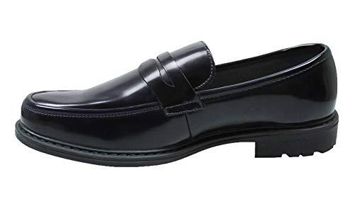 AK collezioni Mocassini uomo class nero ecopelle scarpe slip on eleganti man's shoes (44)