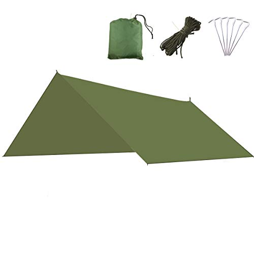 Azarxis Bâche de Tente Anti Pluie 3 x 3 m Tarp Rain Fly Imperméable Tapis de Sol Parasol Abri de Randonnée Pliable Anti UV pour Extérieur Camping Trekking (Vert)