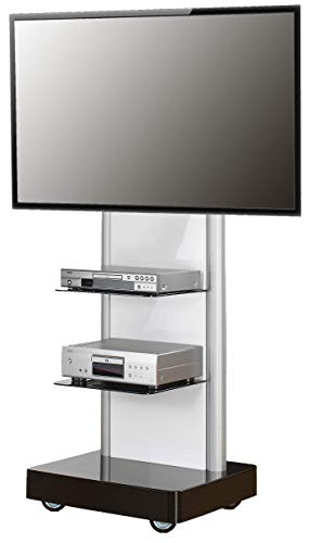 VCM TV Standfuß LED Ständer Fernseh Rack Fuß Alu Glas Universal VESA Mobil Rollen Fahrbar Schwarzglas
