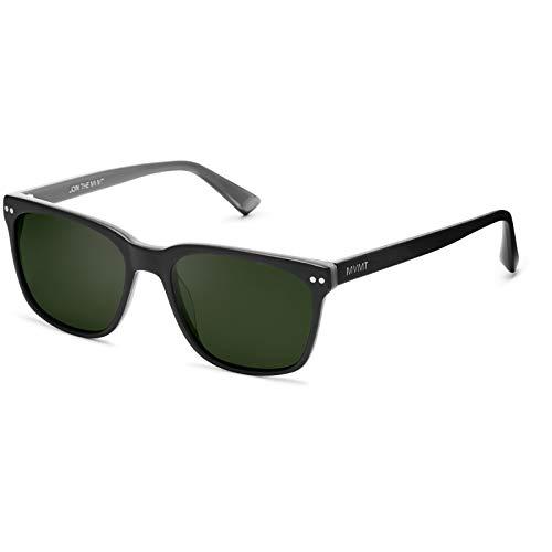 MVMT Ritual | Polarized Square Men's Sunglasses | Matte Black/Dark Green | 55 mm
