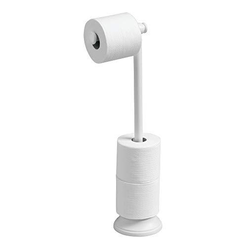 mDesign Toilettenpapierhalter ohne Bohren - Klorollenhalter fürs Badezimmer - Farbe: Weiß - Papierrollenhalter freistehend