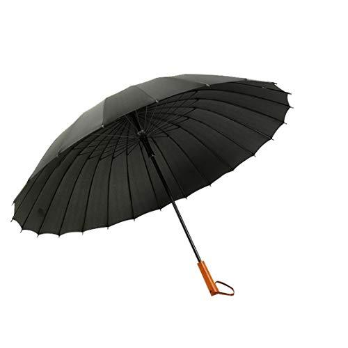 Anglayif Ombrello Dritto da Uomo in midollino da 24 Iarde Adulto Manico Dritto in Legno (Color : Black)