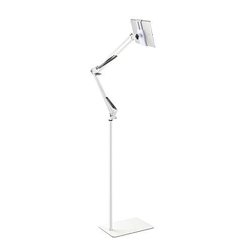 Spessn Supporto tavoletta Regolabile per Pavimento, Universale Supporto Metallo 360 Ruotabile per Samsung Galaxy Tab e telefoni(Bianco)