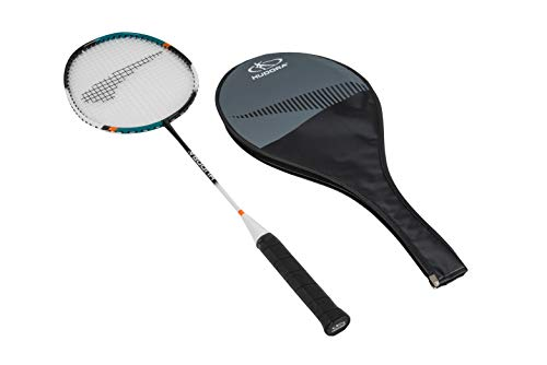 HUDORA Erwachsene und Kinder Allround Badminton-Schläger Champ inkl. Schutz-Hülle Alu-Rahmen & Carbon-Schaft, bunt, 67 x 20 x 2,8cm