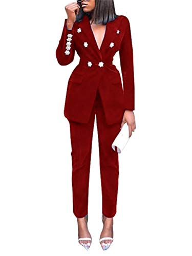 ORANDESIGNE Completo da Donna in Due Pezzi Basic Slim Fit Business Blazer Elegante Regular Fit Ufficio Cappotto OL Giacca Cardigan B Rosso 46