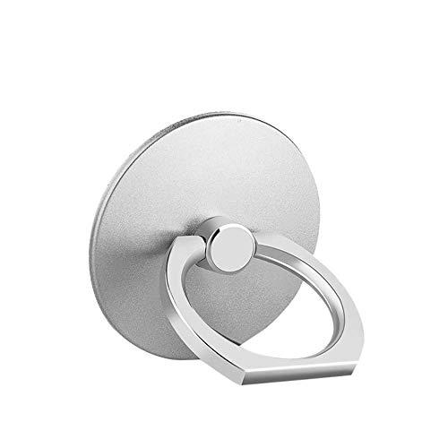 ISKIP - Supporto ad anello in metallo, rotazione a 360 gradi e supporto universale per smartphone, anello per telefono cellulare, per quasi tutti i telefoni (argento)