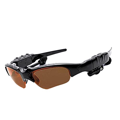 Homyl Óculos de sol sem fio esportivos Bluetooth 4.2 Óculos polarizados Fone de ouvido para ciclismo corrida - Castanho